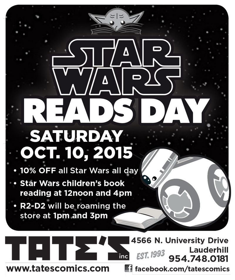 Free Comic Book Day Flyer: Star Wars Reads Day At TATE'S